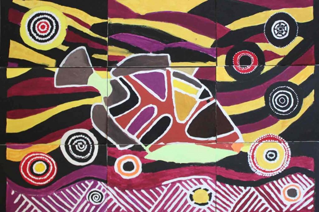 Tableau collectif sur le style de l'art aborigène