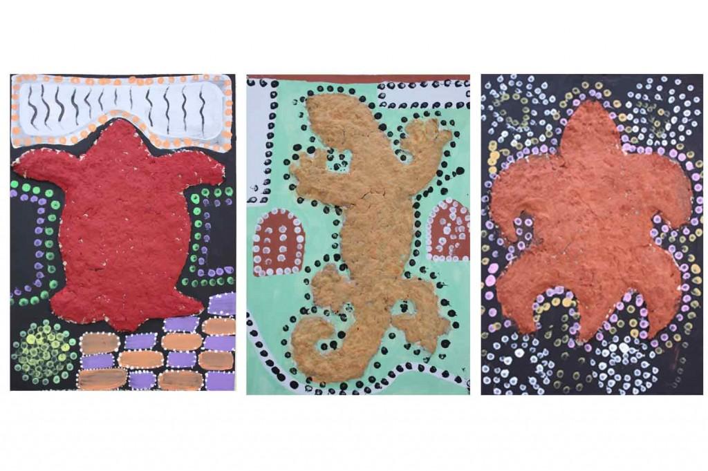 Résultats des animaux en papier mâché style art-aborigène