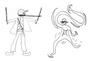 Personnages imaginés et dessinés par deux élèves de la classe.