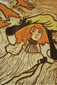 Linogravure inspirée de l'affiche Confetti de Toulouse-Lautrec.