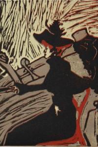 Linogravure inspirée de l'affiche Divan japonais de Toulouse-Lautrec.