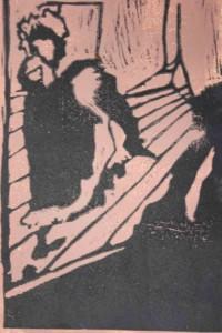 Linogravure inspirée de l'affiche Jane Avril de Toulouse-Lautrec.