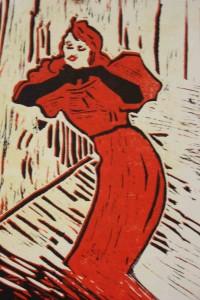 Linogravure inspirée de l'affiche Yvette Guilbert de Toulouse-Lautrec.