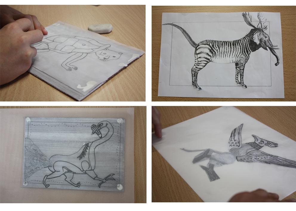 """Recherches et dessins d'animaux """"hybrides""""."""
