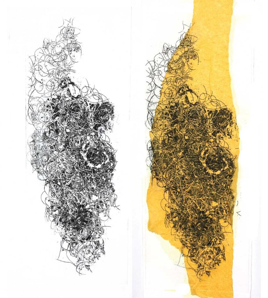 A gauche eau forte impression sur papier, à droite eau forte impression sur papier de soie.