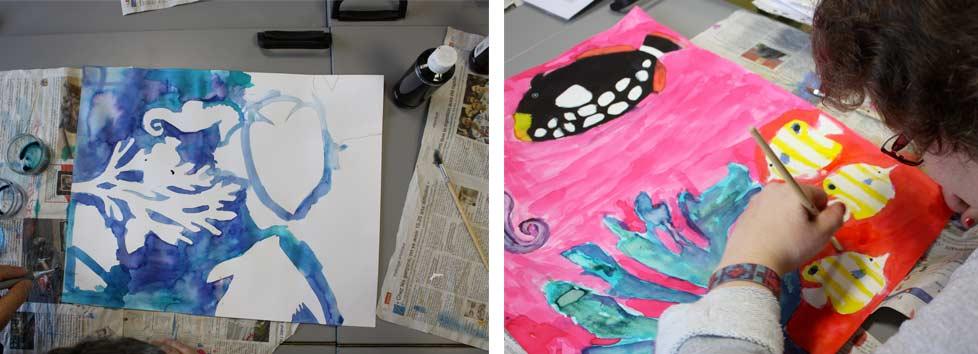 Univers marin, réalisés à partir de gabarits, encre aquarelle.