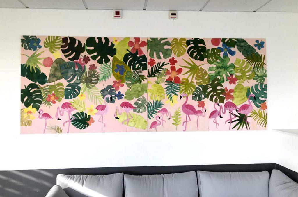 Fresque collective, inspiration jungle tropicale, peinture acrylique et aquarelle. Foyer Les Glycines à Pipriac.